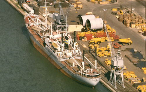 Loading Cat onto Ship